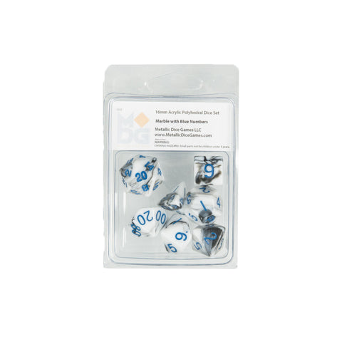 MDG 1032 Marble w/ Blue Numbers Polyhedral Dice Set