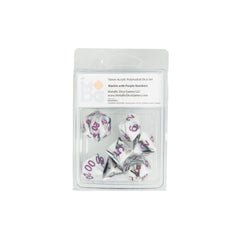 MDG 1037 Marble w/ Purple Numbers Polyhedral Dice Set
