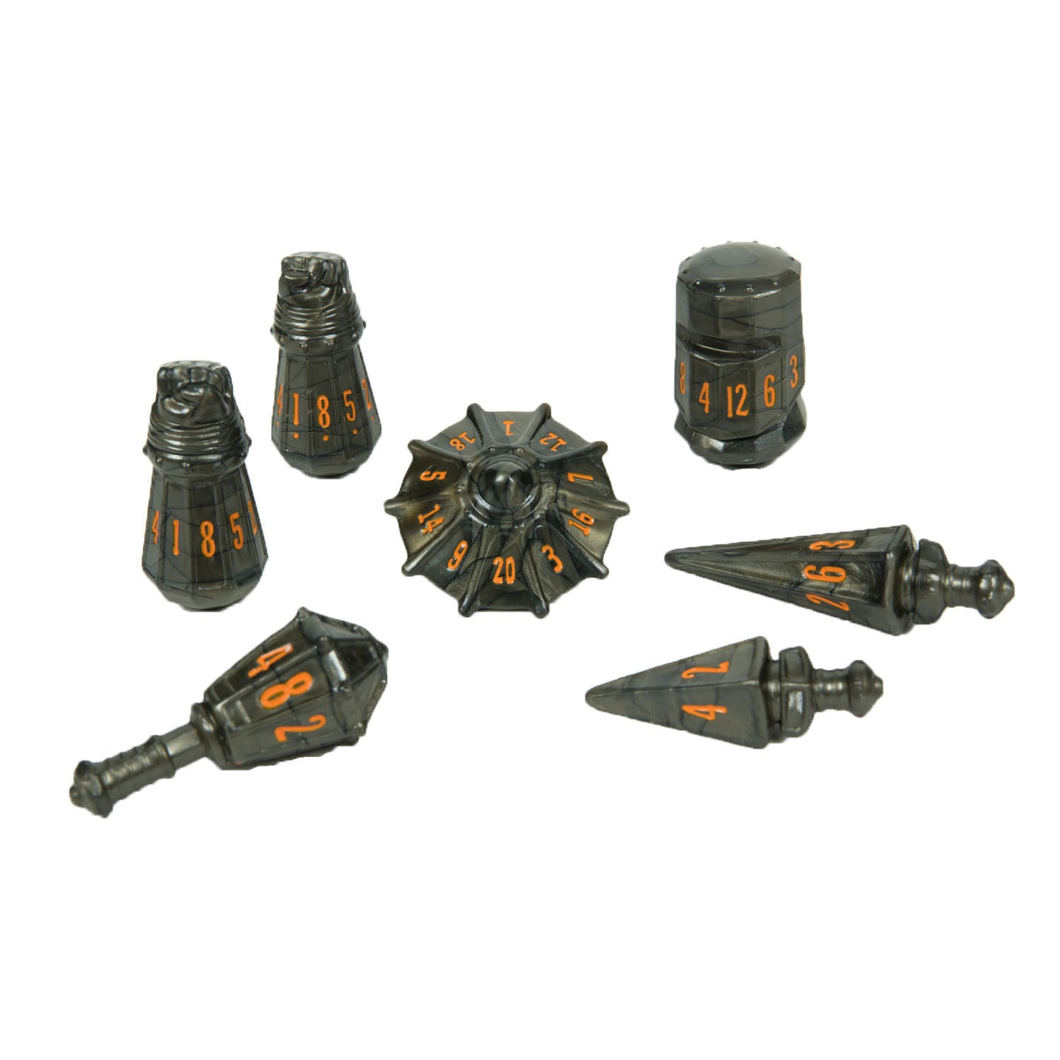 PolyHero Dice: Warrior Set Steel Grey with Molten Copper