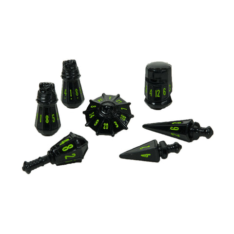 PolyHero Dice: Warrior Set Black with Goblin Green