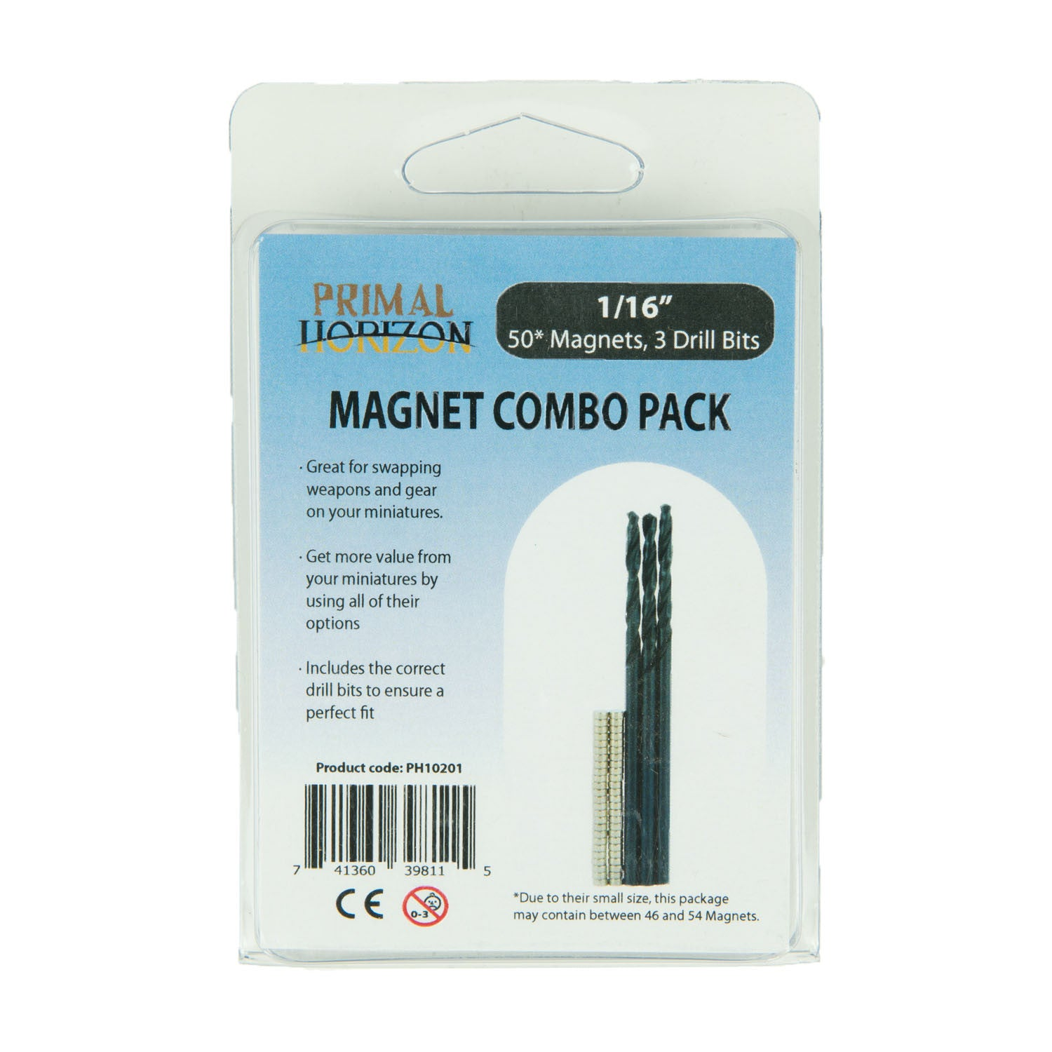 Primal Horizon Combo Pack: 1/16 in x 1/32 in Magnets + Drill Bits