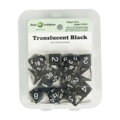 Role 4 Initiative 50103 Translucent Black w/ White Polyhedral Dice Set (15-ct)