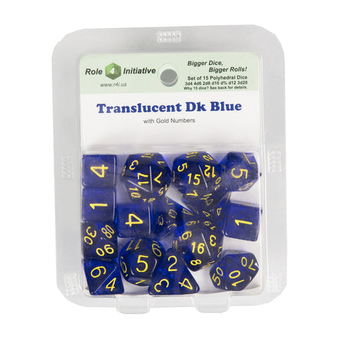 Role 4 Initiative 50108 Translucent Dark Blue w/ Gold Polyhedral Dice Set (15-ct)