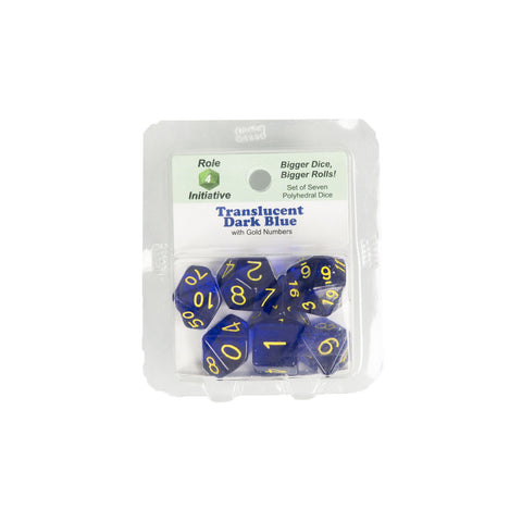 Role 4 Initiative 50108 Translucent Dark Blue w/ Gold Polyhedral Dice Set (7-ct)