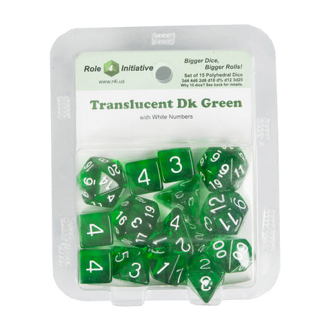 Role 4 Initiative 50110 Translucent Dark Green w/ White Polyhedral Dice Set (15-ct)