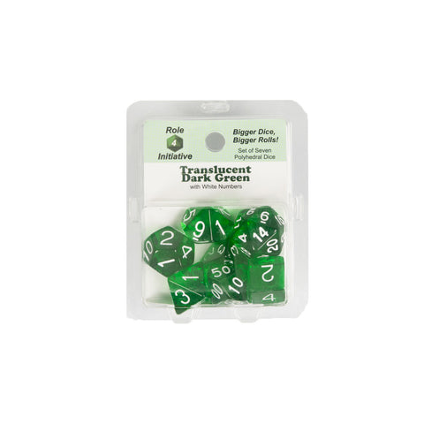 Role 4 Initiative 50110 Translucent Dark Green w/ White Polyhedral Dice Set (7-ct)