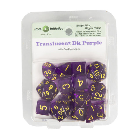 Role 4 Initiative 50114 Translucent Dark Purple w/ Gold Polyhedral Dice Set (15-ct)