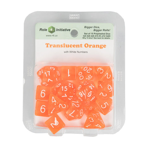 Role 4 Initiative 50106 Translucent Orange w/ White Polyhedral Dice Set (15-ct)
