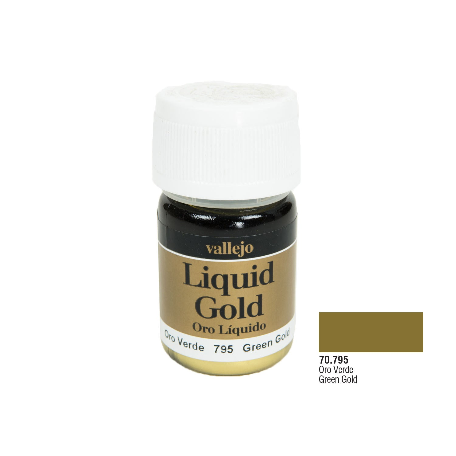 Vallejo 70.795 Liquid Gold: Green Gold, (Alcohol Based), 35 ml