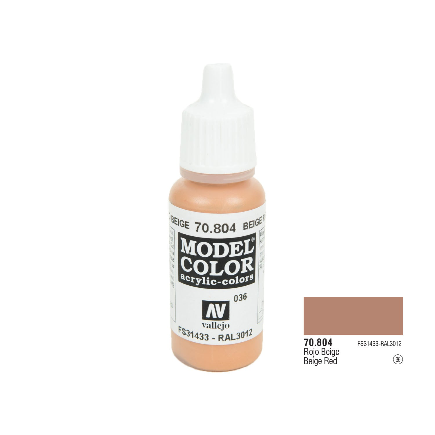 Vallejo 70.804 Model Color: Beige Red, 17ml