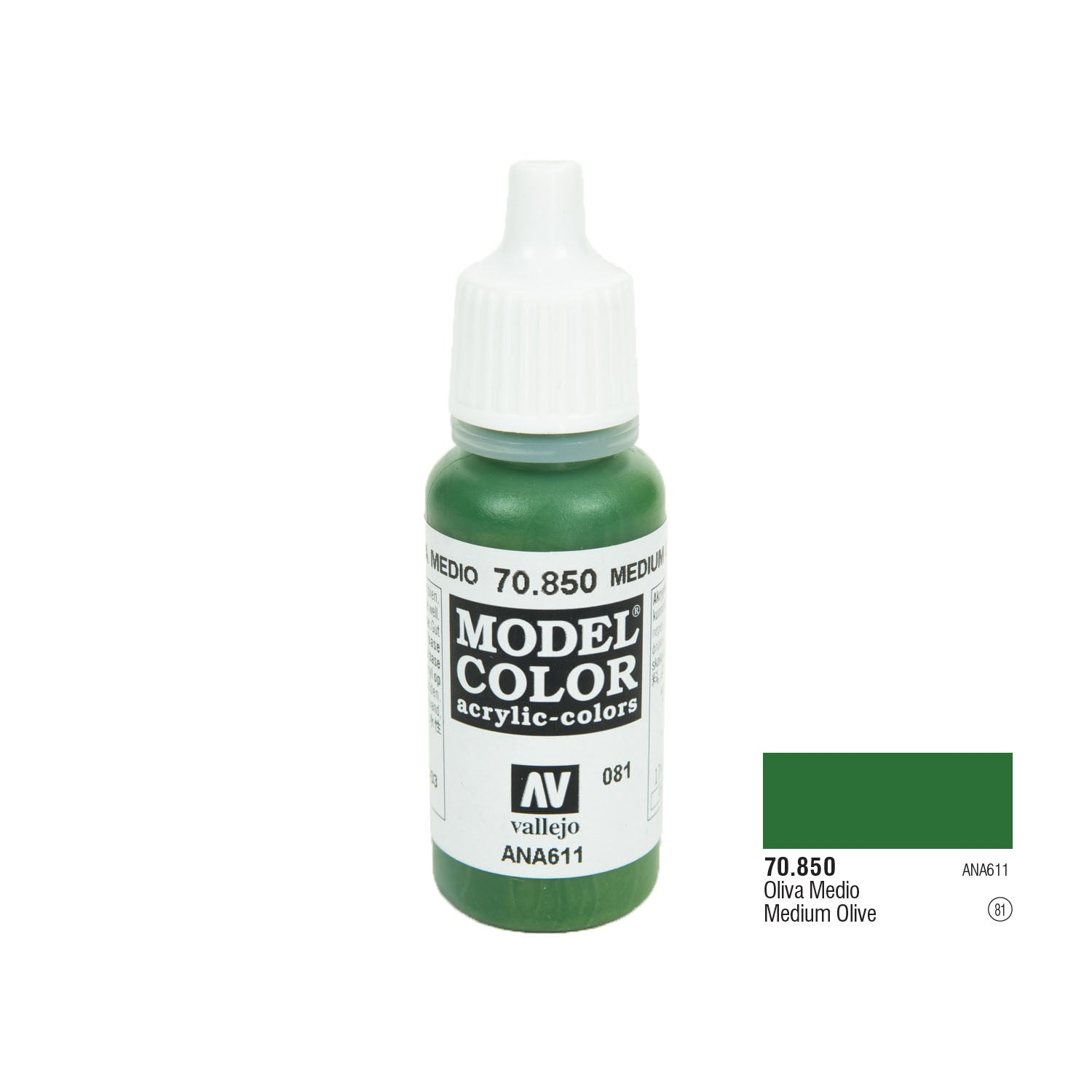 Vallejo 70.850 Model Color: Medium Olive, 17ml