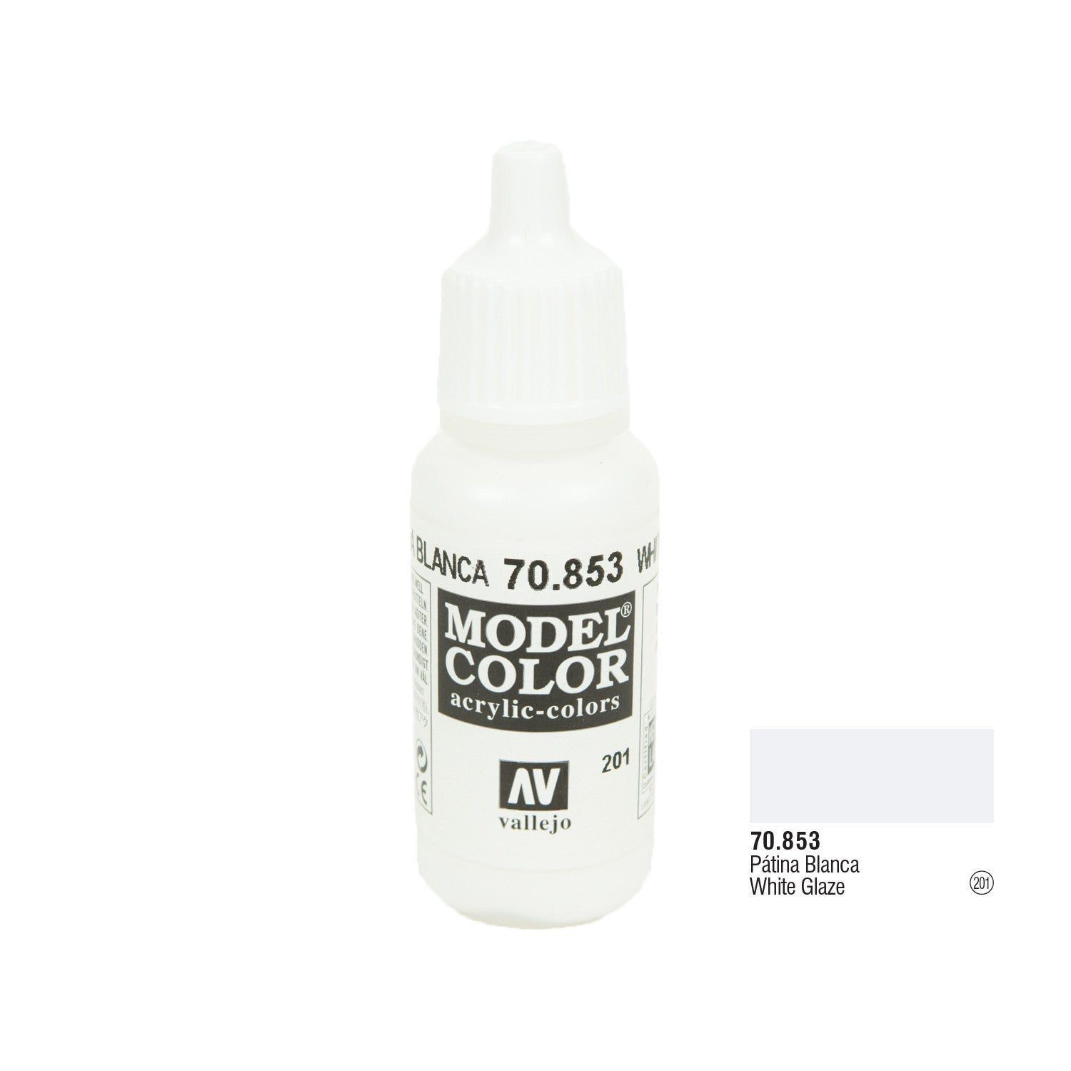 Vallejo 70.853 Model Color: White Glaze, 17ml