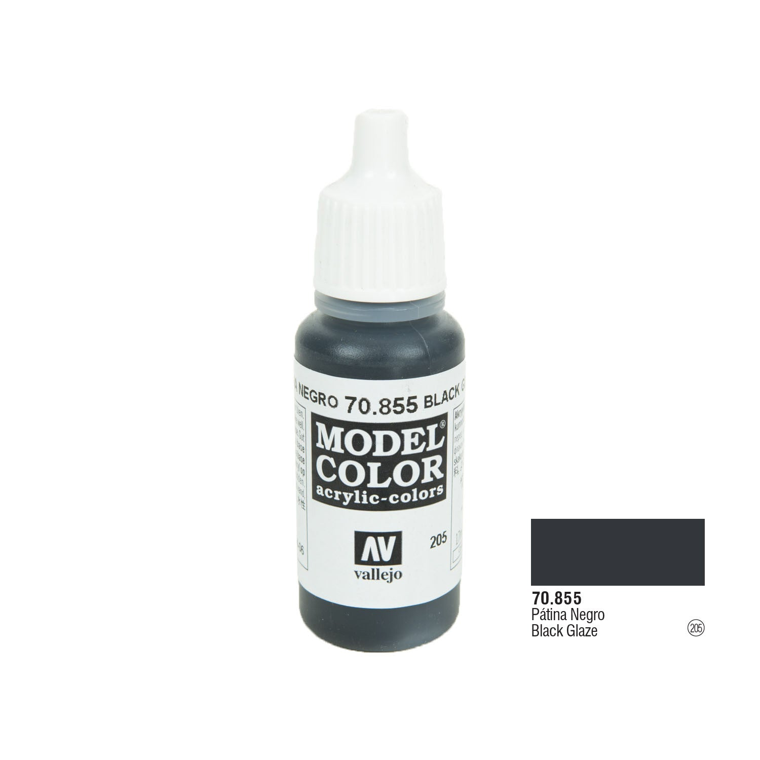 Vallejo 70.855 Model Color: Black Glaze, 17ml