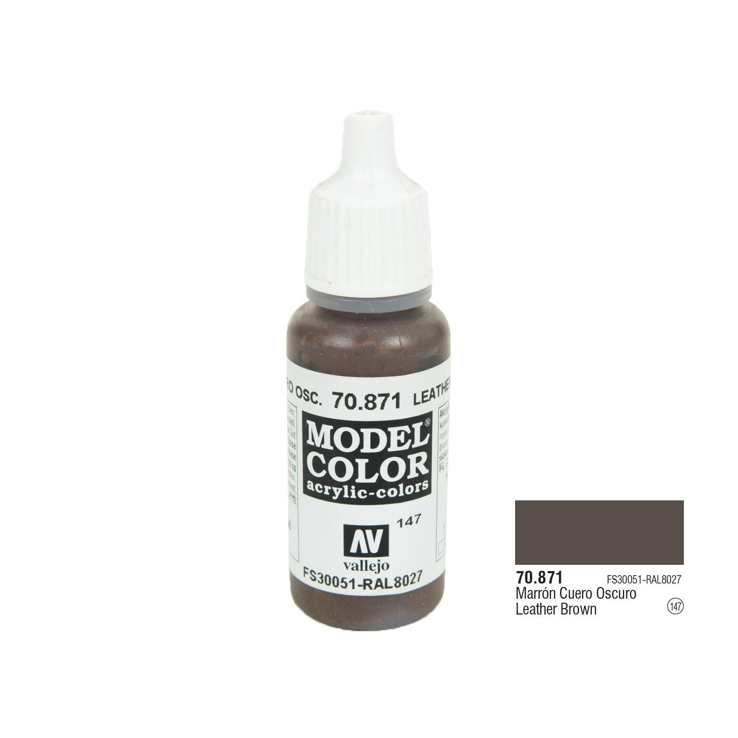 Vallejo 70.871 Model Color: Leather Brown, 17ml