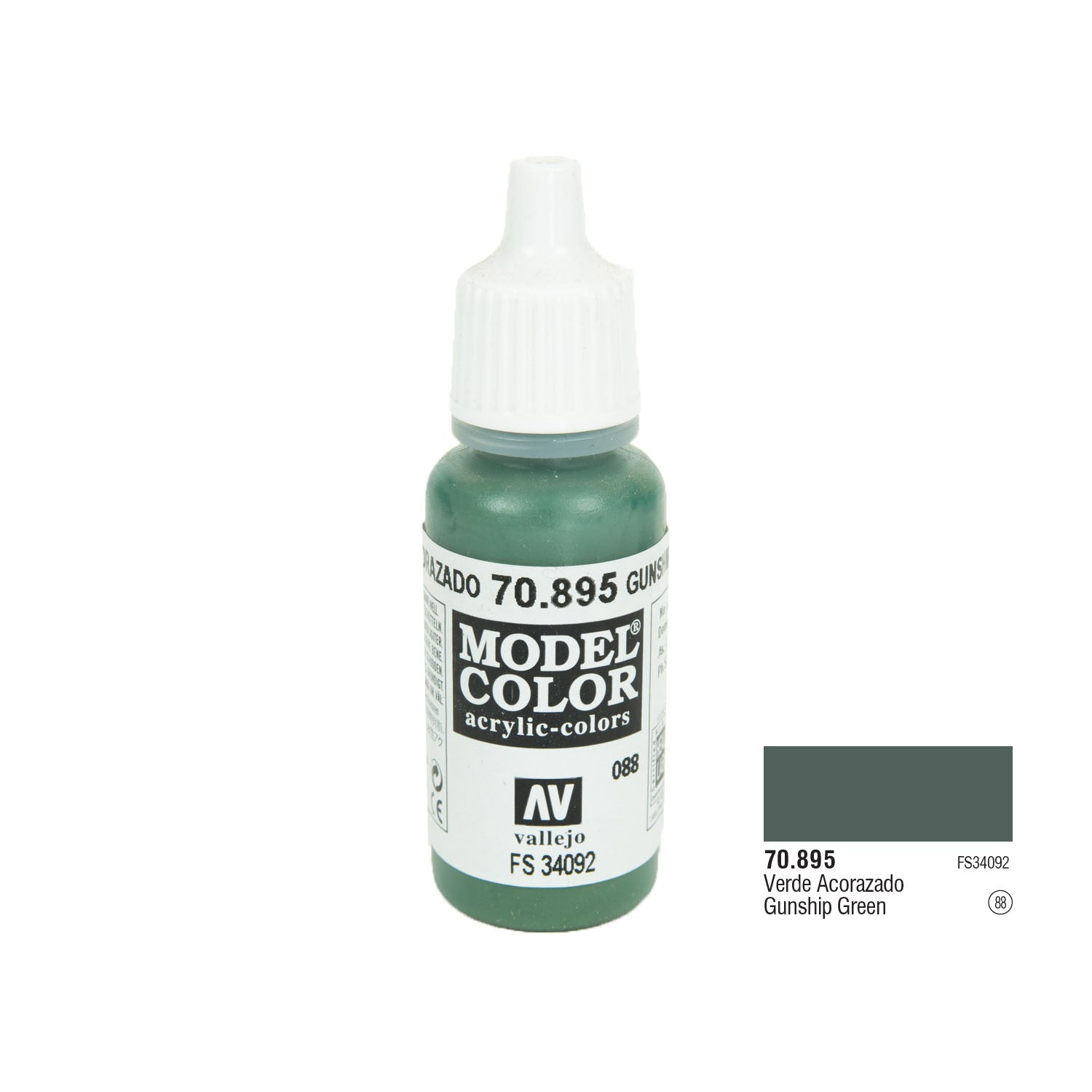 Vallejo 70.895 Model Color: Gunship Green, 17ml