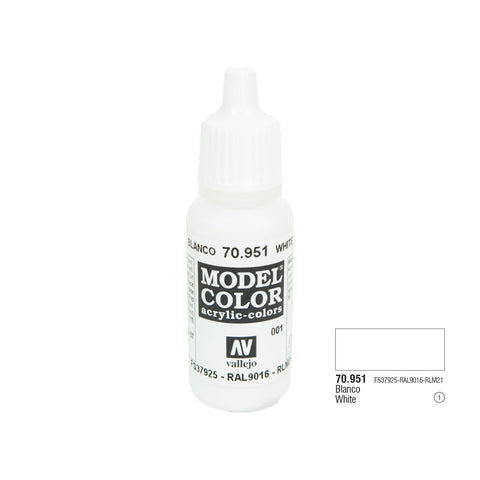 Vallejo 70.951 Model Color: Flat White, 17ml