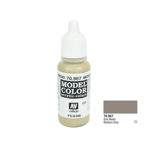 Vallejo 70.987 Model Color: Medium Grey, 17ml