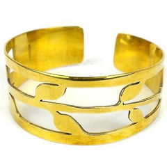 Brass Bombshell Bracelet with open leaf design