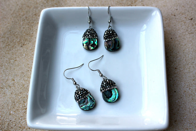 Abalone shell earrings, drop earrings