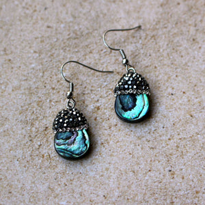 Abalone shell and rhinestone earrings, drop earrings
