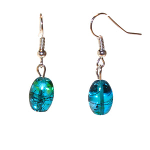 Floral Glass Earrings - Aqua