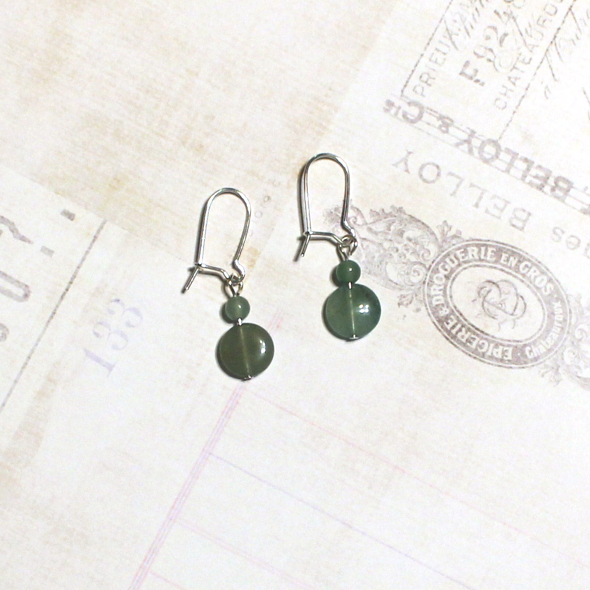 Aventurine Green Stone Earrings - Drop Earrings - Real Stone Earrings