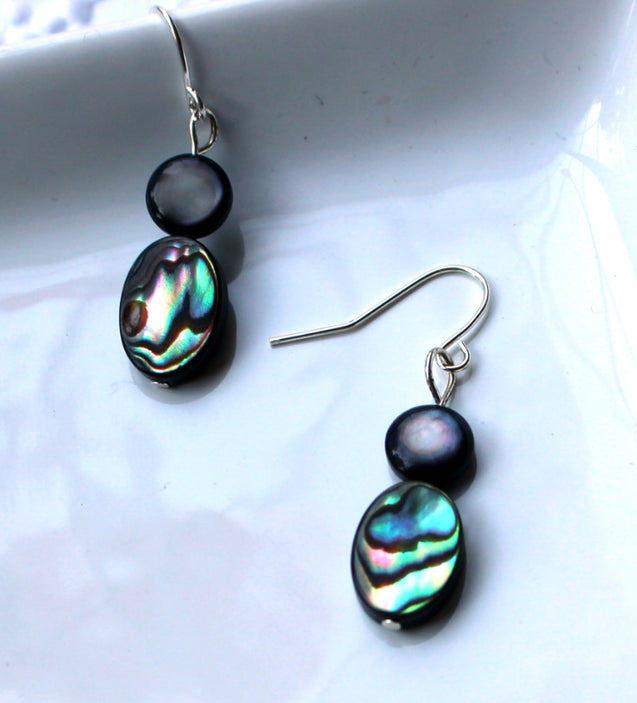 abalone earrings, drop earrings
