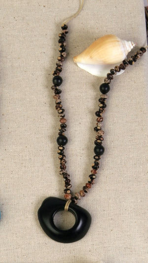 Black Tagua and Guandu Seed Necklace