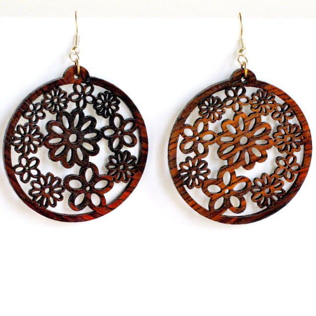 millefiori wood flower earrings, drop earring style