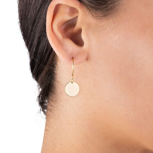 Gold Coin Earrings - Gold Circle Disc Drop Earrings - Small Earrings