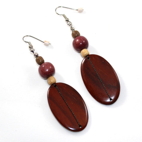 Large Rosewood Paddle and Bead Earrings