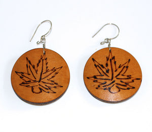 Medicinal Leaf - Carved Gourd Earrings