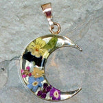 Real Flower Moon Pendent - Pansy