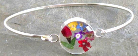 Real Flower Sterling Silver Bangle - Rose Bud