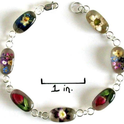 Real Flower Sterling Silver Bracelet - Heather