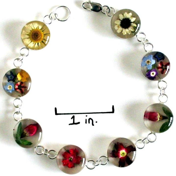 Real Flower Sterling Silver Bracelet - Isabel