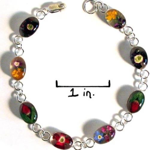 Real Flower Sterling Silver Bracelet - Julia