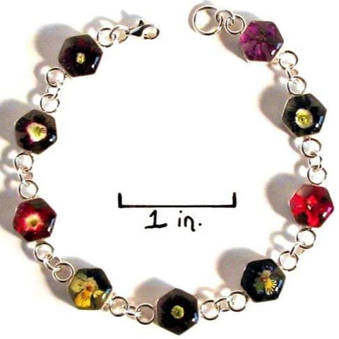 Real Flower Sterling Silver Bracelet - Lola