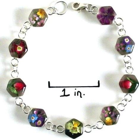 Real Flower Sterling Silver Bracelet - Mia
