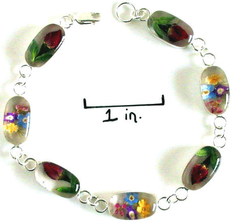 Real Flower Sterling Silver Bracelet - Talia