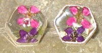Real Flowers and Sterling Silver Earrings - Pixies