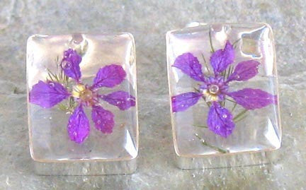 Real Flowers and Sterling Silver Earrings - Violet