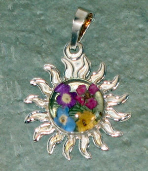 Real Flowers and Sterling Silver Sun Pendent - Forget Me Not