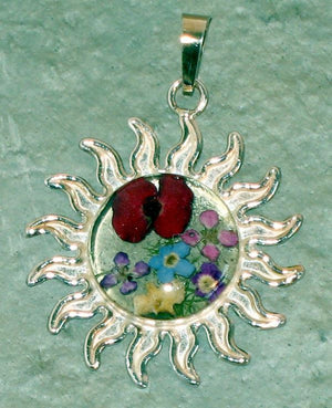 Real Flowers and Sterling Silver Sun Pendent - Poppies