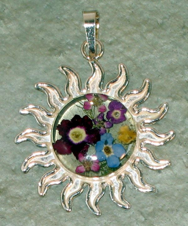 Real Flowers and Sterling Silver Sun Pendent - Prairie