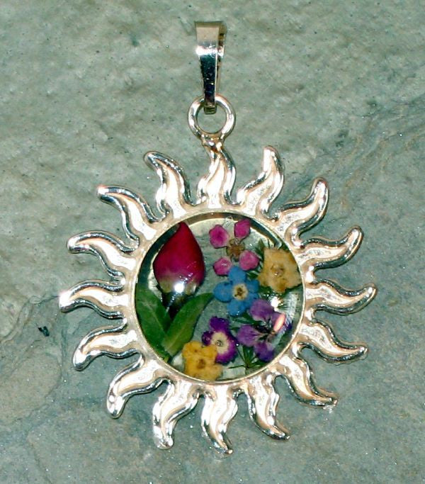 Real Flowers and Sterling Silver Sun Pendent - Rosa