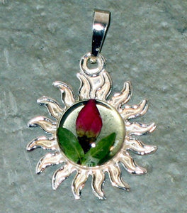 Real Flowers and Sterling Silver Sun Pendent - Rose Bud