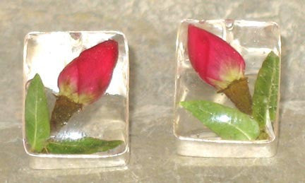 Real Rose Bud and Sterling Silver Earrings - Rectangle