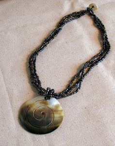 Beaded Spiral Shell Necklace