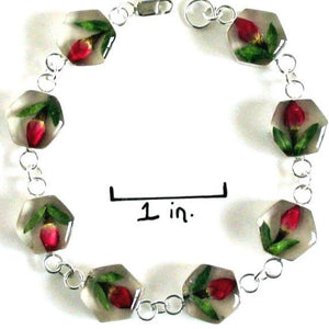 Real Flower Sterling Silver Bracelet - Rose Hexagon